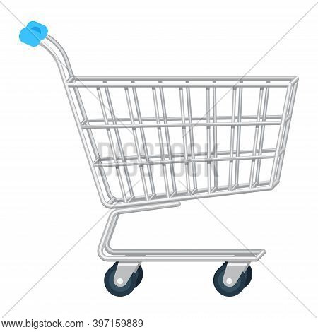 Vector Flat Realistic Illustration Of Side View Empty Supermarket Shopping Cart. Shopping Trolley Is