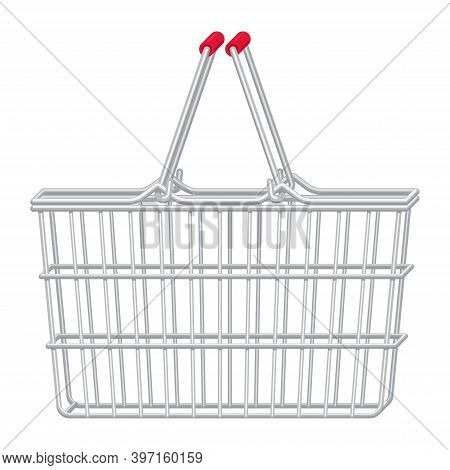 Vector Flat Realistic Illustration Of Side View Empty Supermarket Shopping Basket. Metal Shopping Ca