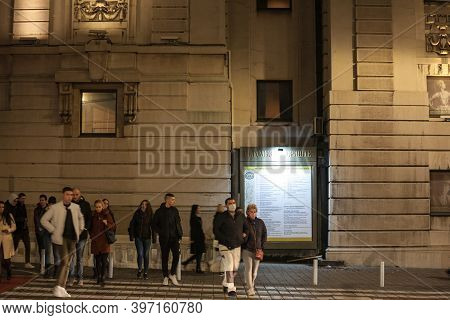 Belgrade, Serbia - November 6, 2020: Crowd Of People, Some Blurred, Some Wearing A Respiratory Face