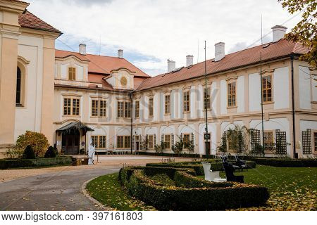 Loucen Rococo Castle Surrounded By A Vast English Park, Romantic Baroque Chateau And Gardens With Ma