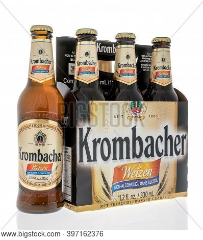 Winneconne, Wi -26 November 2020:  A Six Pack Of Kormbacher Weizen Non Alcoholic Beer On An Isolated