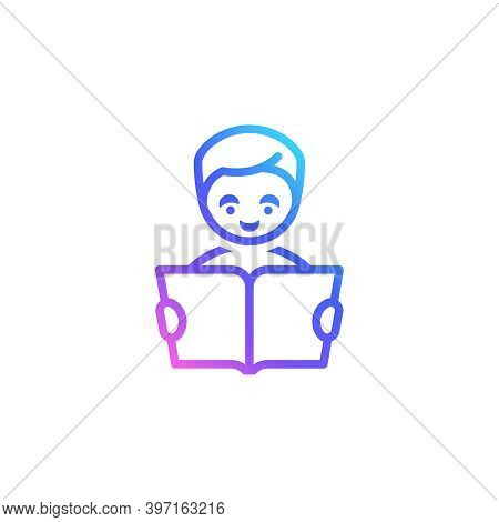 Boy With A Book Vector Icon For Freelance, Online Education, Business, Distant Work. Trendy Vibrant
