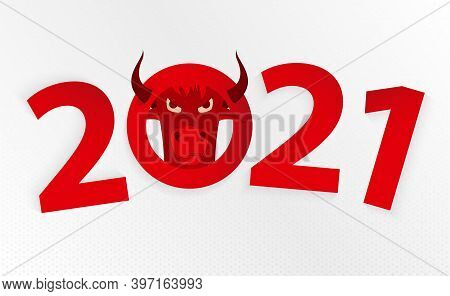 Chinese New Year 2021 Year Of The Ox. Chinese Zodiac-ox In Circle.