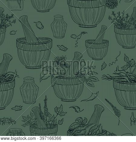 Seamless Pattern With Herbals Parts And Utensils