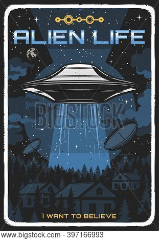 Retro Poster With Ufo Illuminate Houses At Night. Vector Alien Saucer In Starry Sky Explore Human Li