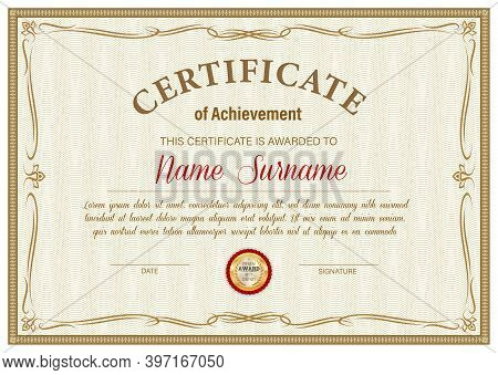 Certificate Of Achievement Vector Template, Diploma Border Ornate Design. Official Award Frame, Pape