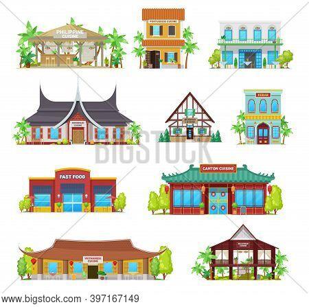 National Cuisine Restaurants Vector Buildings. Philippine, Portuguese And Indonesian, German, Kebab