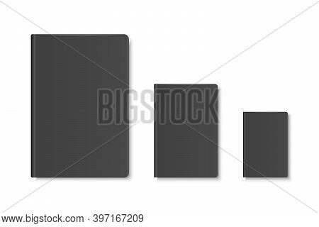 Vector 3d Realistic Black Closed Blank Paper Notebook, Diary, Book Set Isolated On White Background.