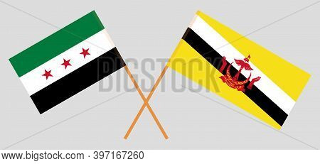 Crossed Flags Of Brunei And Interim Government Of Syria. Official Colors. Correct Proportion. Vector
