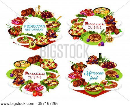 Moroccan Food Vector Pomegranate Beetroot Salad, Fig Cake, Chicken Soup, Couscous Salad With Vegetab