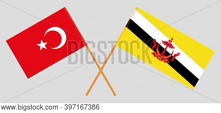Crossed Flags Of Brunei And Turkey. Official Colors. Correct Proportion. Vector Illustration