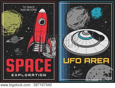 Space Exploration And Aliens Discovery Posters. Vintage Rocket Or Spaceship And Alien Flying Saucer