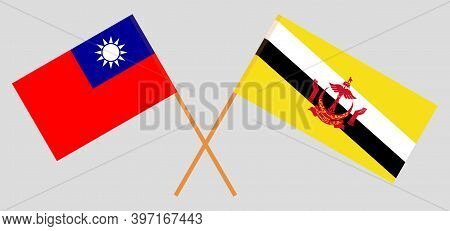 Crossed Flags Of Brunei And Taiwan. Official Colors. Correct Proportion. Vector Illustration