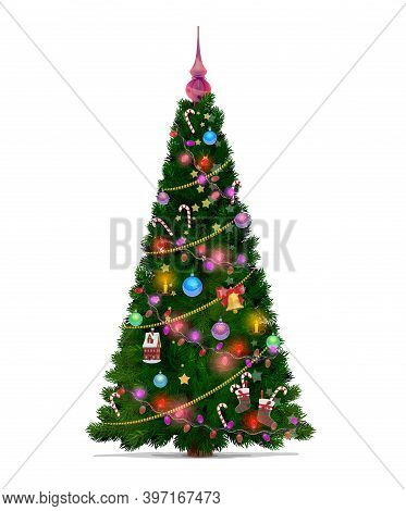 Christmas Tree With Cartoon Vector Decorations Of Stars, Gifts And Balls, Merry Xmas And New Year. G