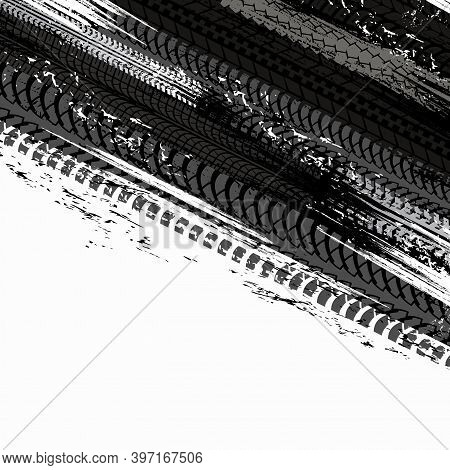 Offroad Tyre Print And Grunge Spot Vector Background, Black Dirty Tire Trace For Automobile Service,