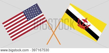 Crossed Flags Of Brunei And The Usa. Official Colors. Correct Proportion. Vector Illustration