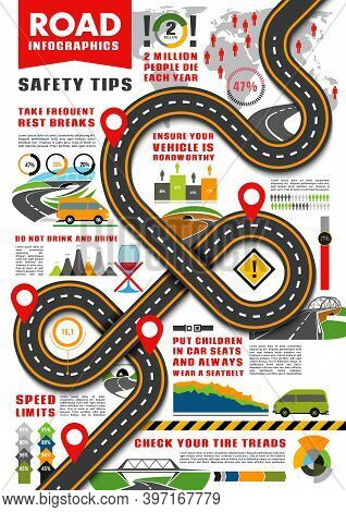 Road Transport Infographics Vector Template. Traffic Safety Tips Infographic, Highway With Signs And