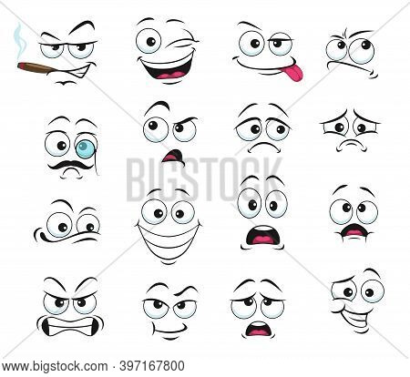 Face Expression Isolated Vector Icons, Funny Cartoon Emoji Smoking Cigar, Wink And Sad, Smiling, Con