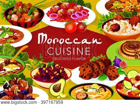 Moroccan Cuisine Vector Meat With Prunes And Almond, Pomegranate Beetroot Salad, Fig Cake. Chicken S