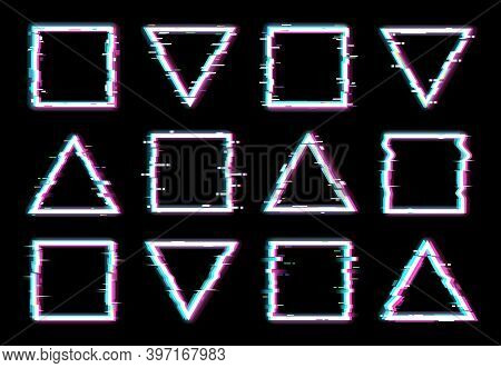 Glitch Frames Vector Distorted Neon Glowing Pixelized Borders Of Triangle And Square Shapes Isolated