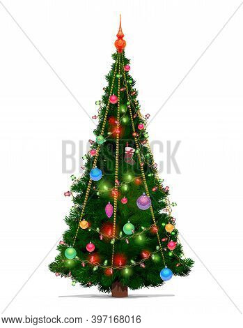 Christmas Tree With Vector Xmas Gift And Ball Decorations, Merry Christmas And New Year Cartoon Desi