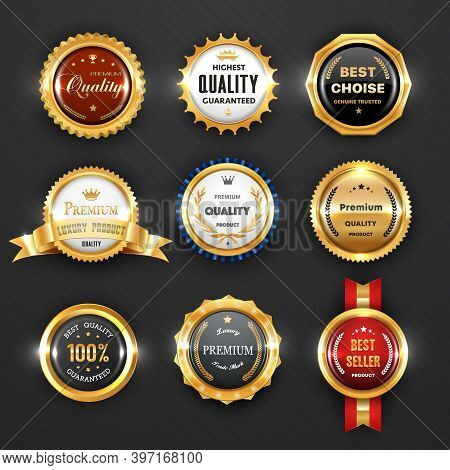 Gold Badges And Labels, Business Vector Design. Premium Quality Guarantee Certificate, Best Choice P