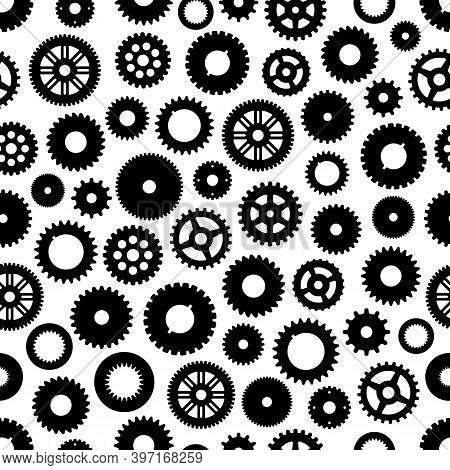 Gear Or Cog Wheels Vector Seamless Pattern Background With Machine, Clock, Engine, Watch And Bike Pa