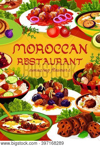 Moroccan Restaurant Food Vector Almond, Pomegranate Beetroot Salad, Fig Cake, Chicken Soup. Couscous