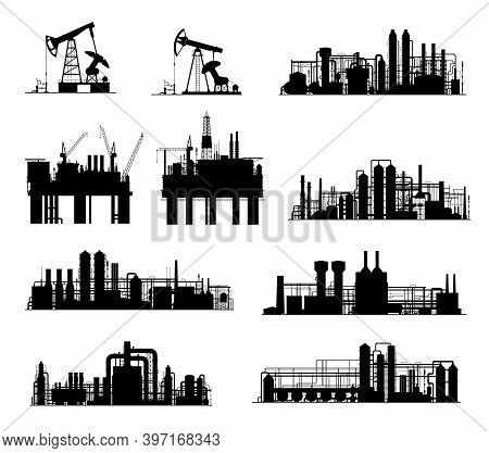 Oil And Gas Industry Vector Silhouettes. Petroleum Refinery Factories, Drilling Rigs, Energy Plants