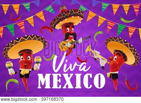 Mexican Chilli Pepper Musician Vector Characters Of Viva Mexico Holiday. Cartoon Red Chili Mariachi