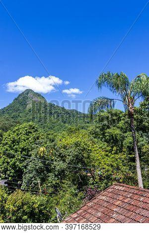 Abraão Mountain Pico Do Papagaio With Clouds. Ilha Grande Brazil.