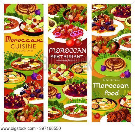 Moroccan Food Vector Meat With Prunes And Almond, Pomegranate Beetroot Salad And Chicken Soup. Cousc