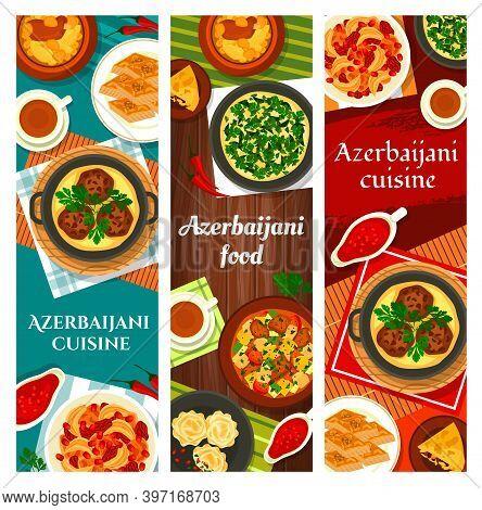 Azerbaijani Food Vector Meals Walnut Baklava, Shah Pilaf And Stew Ovrishta. Herb Omelette Kuku, Tava