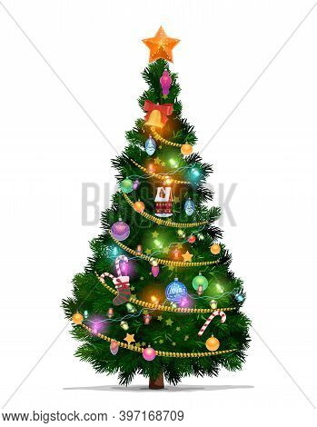 Christmas Tree With Cartoon Vector Xmas Star, Balls And New Year Gifts. Christmas Fir Or Pine Tree,