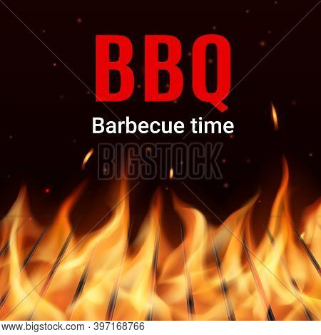 Barbeque Charcoal Grill Grid In Fire Realistic Vector. Flame Sparks And Particles Flying In Darkness