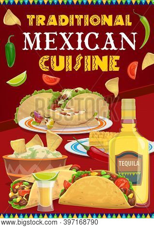 Mexican Cuisine Food And Drink Vector Menu Of Viva Mexico Holiday Fiesta Party. Tacos, Burritos And