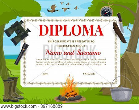 Boy Scout Diploma Vector Template. Camping Equipment Binoculars, Tent And Compass With Flashlight, C