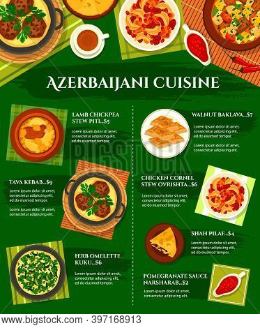 Azerbaijani Cuisine Vector Menu Chicken Cornel, Stew Ovrishta And Herb Omelette Kuku. Tava Kebab, Po
