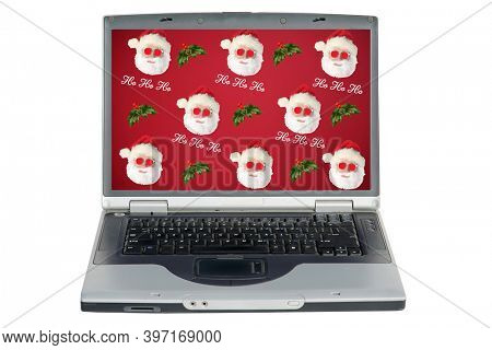 Santa Claus on a Computer Screen. Santa Claus computer screen Wall Paper. Repeating pattern of Santa. Backgrounds and Wall Papers.