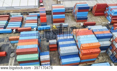 Container Ship Commercial Vessel Alongside In Port For Loading And Discharging Containers Services I