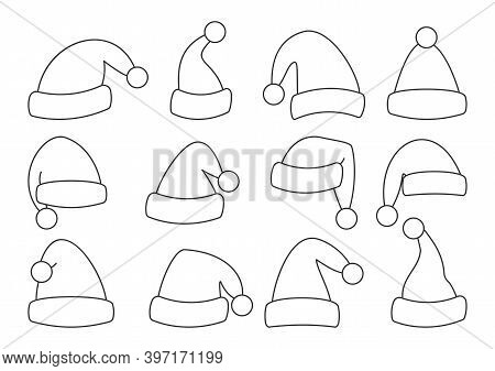 Set Of Christmas Santa Claus Hat. Linear Style Holiday Cap. Traditional Winter Accessory Of New Year