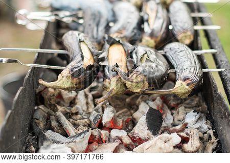Vegetarian Kebab Baked Eggplant On Coals Strung On Skewers