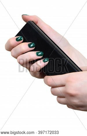 Girl With Beautiful Pearl Manicure Holding Glasses Case On White Background