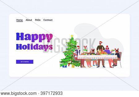 Multi Generation Family In Santa Hats Having Christmas Dinner New Year Winter Holidays Celebration C