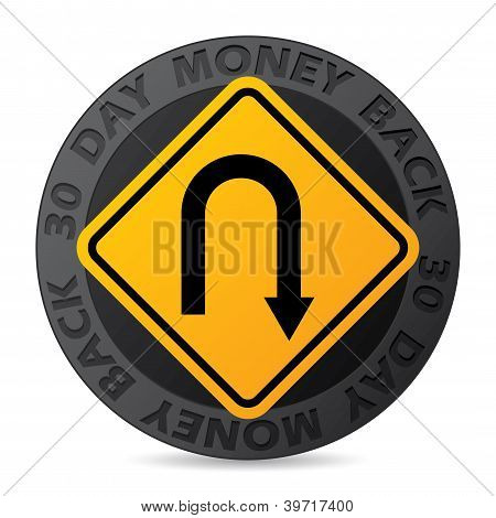 30 Day Money Back Guarantee Label With Road Sign