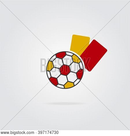 Colored Soccer Ball And Yellow And Red Referee Card. Football Concept. Soccer Ball Icon.
