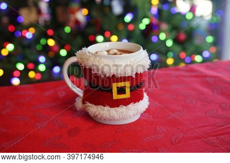 Santa Claus Cup with Hot Chocolate and Marshmallows. A Christmas Gift left for Santa as a Special Treat.