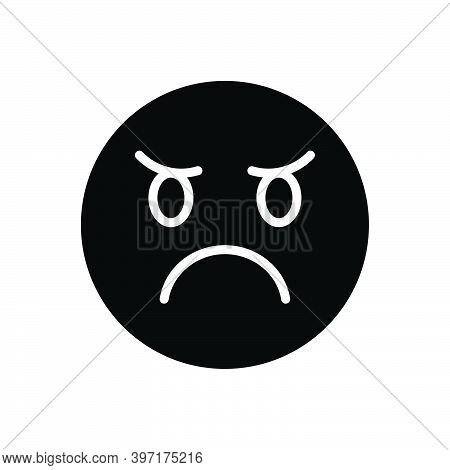 Black Solid Icon For Angry Ireful Splenetic Grumpy Indignant Resentful Frenzied Furious Irate Mood