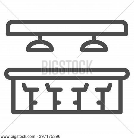 Bar Counter Line Icon, Bartenders Day Concept, Interior Of Bar Or Pub Sign On White Background, Bar