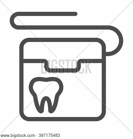 Dental Floss Line Icon, International Dentist Day Concept, Floss To Clean Teeth Sign On White Backgr